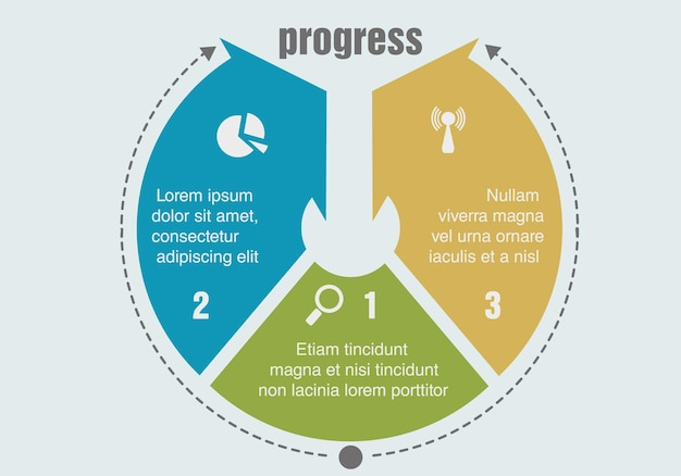 Trois étapes de progression. illustration