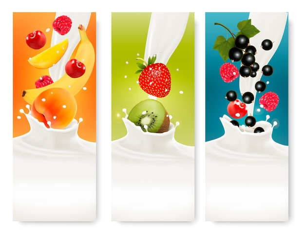 Trois étiquettes de fruits et de lait. vecteur.
