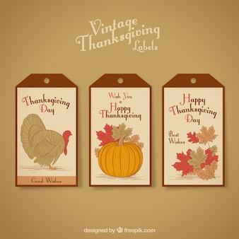 Trois étiquettes de thanksgiving de cru