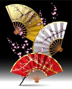Trois fans japonais avec une branche de sakura sur fond noir