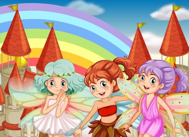 Trois fées et fond d'arc-en-ciel