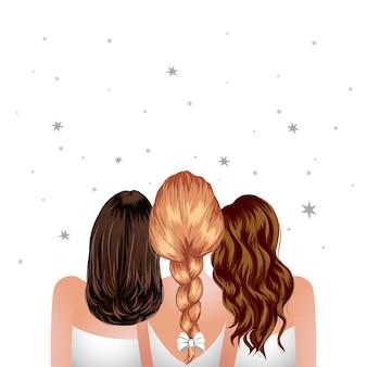 Trois femme debout ensemble fille meilleurs amis vue arrière demoiselles d'honneur clip art