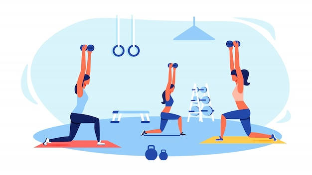 Trois femmes en survêtement font des exercices dans un gymnase