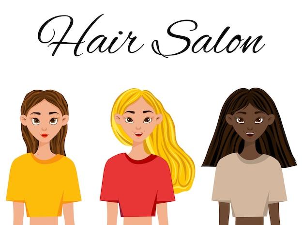 Trois filles avec des cheveux et des couleurs de peau différentes