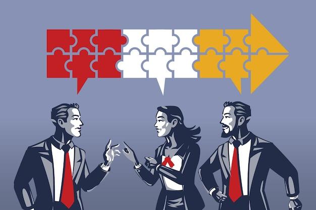 Trois gens d'affaires ayant une discussion synchrone concept illustration de collier bleu
