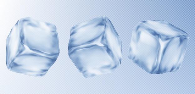 Trois glaçons, isolés sur fond transparent.