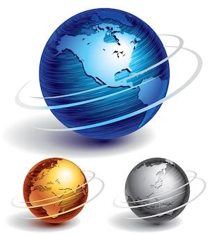 Trois globes en métal brossé
