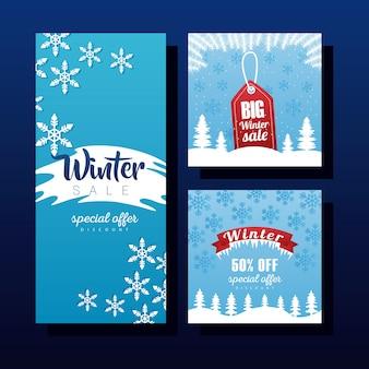 Trois grandes lettres de vente d'hiver avec conception d'illustration d'étiquette et de ruban