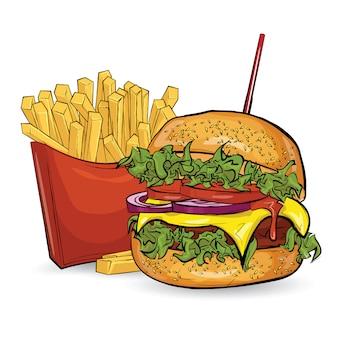 Trois hamburgers dans le style de croquis sur fond blanc.