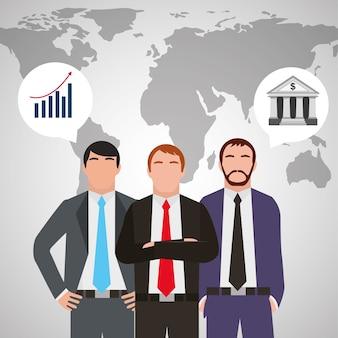 Trois hommes d'affaires en costume debout avec la carte du monde