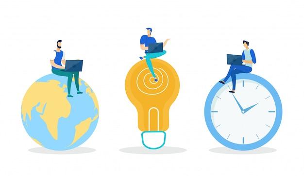 Trois hommes assis sur un globe, une ampoule, une horloge.