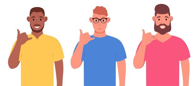 Trois hommes différents montrent le geste du téléphone ou m'appellent geste avec des doigts en forme de téléphone. jeu de caractères. illustration vectorielle.
