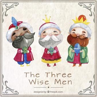Les trois hommes sages dans le style d'aquarelle