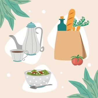Trois icônes de nourriture à la maison
