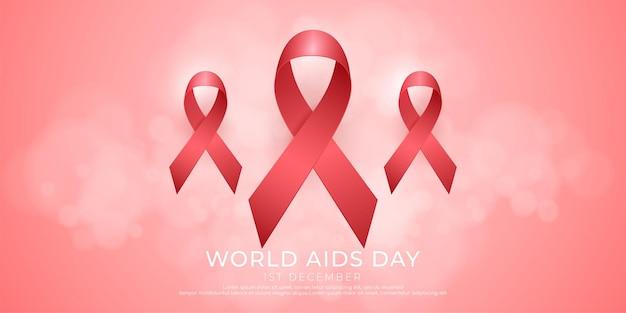 Trois icônes de ruban rouge sur fond rose adaptées à la campagne de la journée mondiale de lutte contre le sida