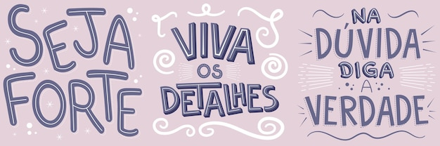 Trois illustrations de motivation dans la vie de cours de portugais brésilien