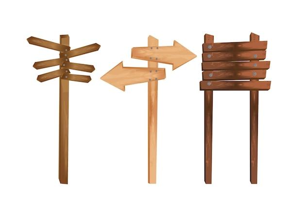 Trois indications en bois isolées