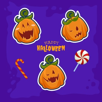 Trois jack o lantern et bonbons d'halloween