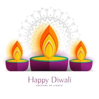 Trois lampes décoratives de joyeux diwali diya