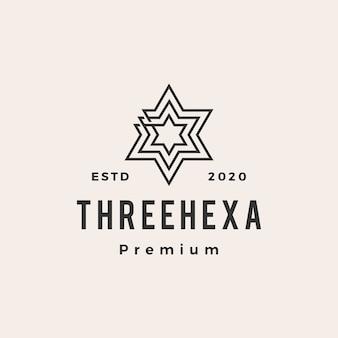 Trois logo vintage hexagramme