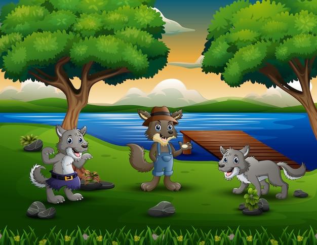 Trois loups au bord de la rivière