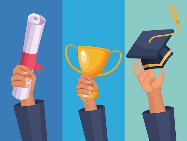 Trois mains de diplômés