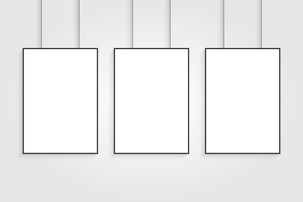 Trois maquettes d'affiche vecteur réaliste blanc.