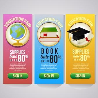 Trois marchandises scolaires de bannière verticale de vacances scolaires