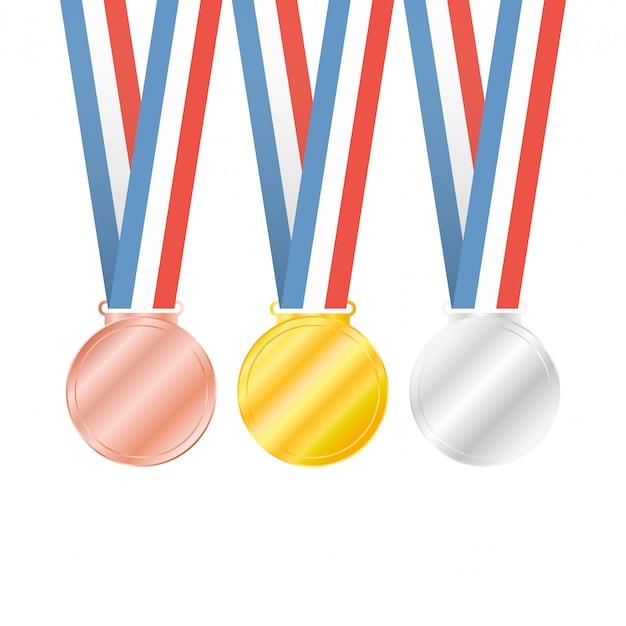 Trois médailles sur blanc