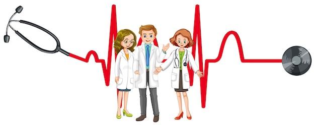 Trois médecins et stéthoscope