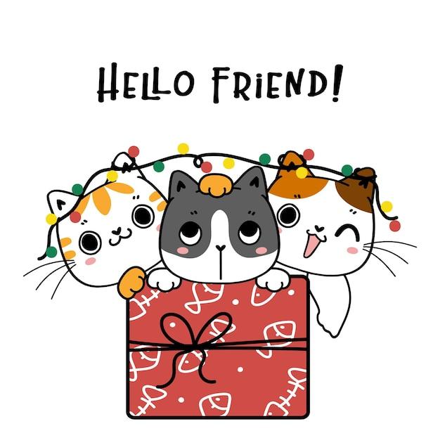 Trois mignons chatons chat groupe d'amis dans la boîte présente cartoon dessinés à la main doodle contour cadeau de noël et du nouvel an