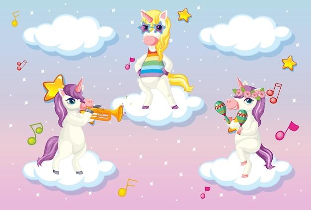 Trois mignons licorne ou pégase debout sur des nuages dans un ciel pastel