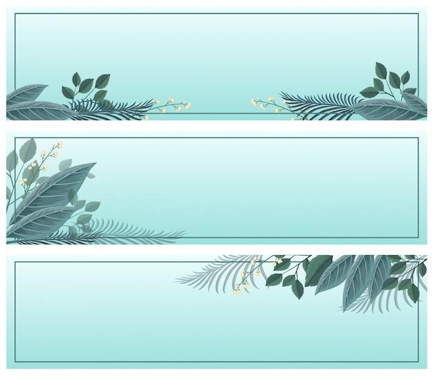 Trois modèles de bannière avec des feuilles sur fond bleu