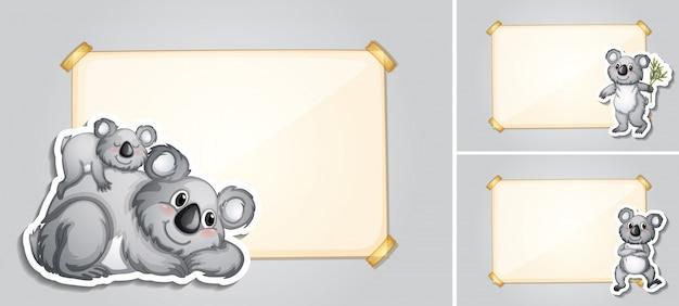 Trois modèles de frontière avec des ours de koala