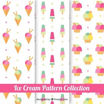 Trois modèles de glaces en couleurs pastel
