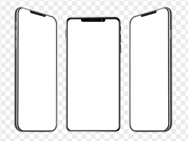 Trois modèles isométriques de maquette de smartphone réaliste. écran blanc vierge de téléphone portable. maquette ux de l'interface utilisateur de l'appareil pour le modèle de présentation.