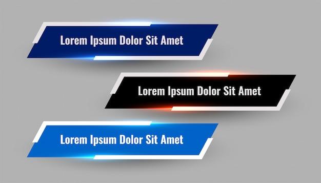 Trois modèles modernes de tiers inférieur géométrique brillant