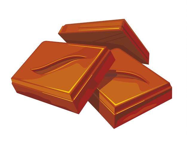 Trois morceaux de chocolat. illustration vectorielle couleur plate. isolé sur fond blanc.