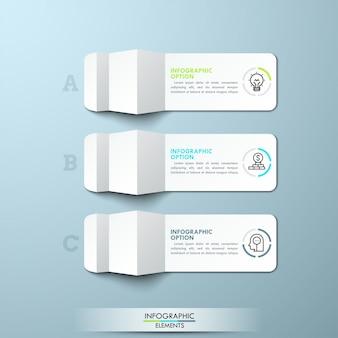 Trois morceaux de papier blanc plié avec des icônes de fine ligne et des zones de texte. disposition infographique minimale.