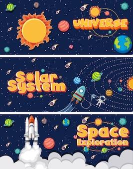 Trois avec de nombreuses planètes dans le système solaire