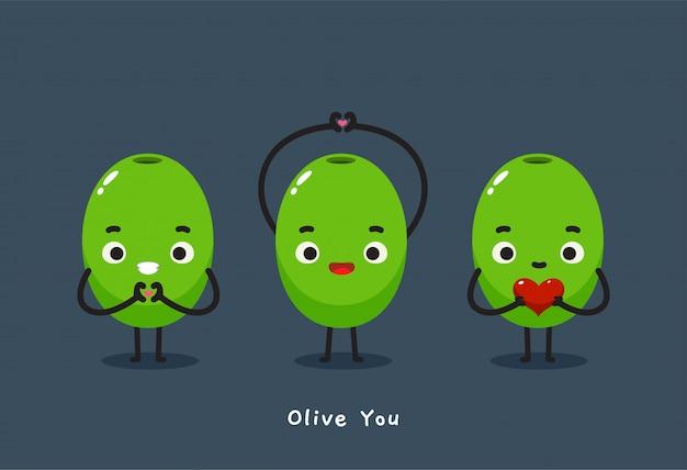 Trois olives avec le texte