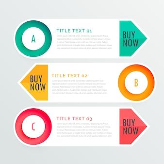 Trois options de infographiques bannière