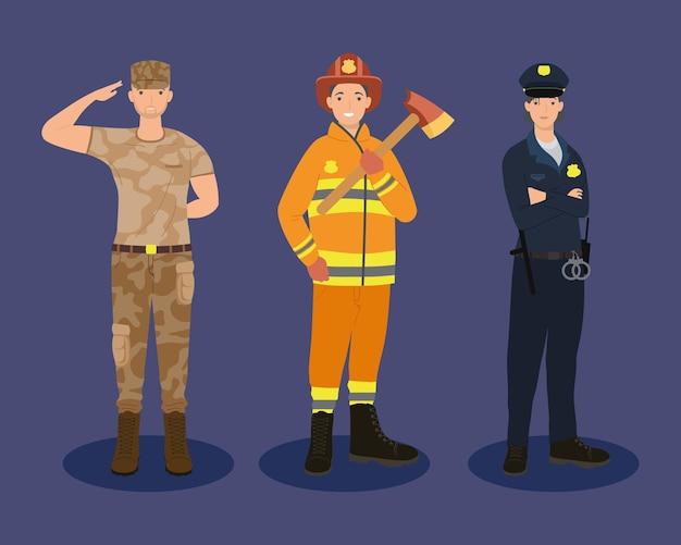 Trois ouvriers professionnels