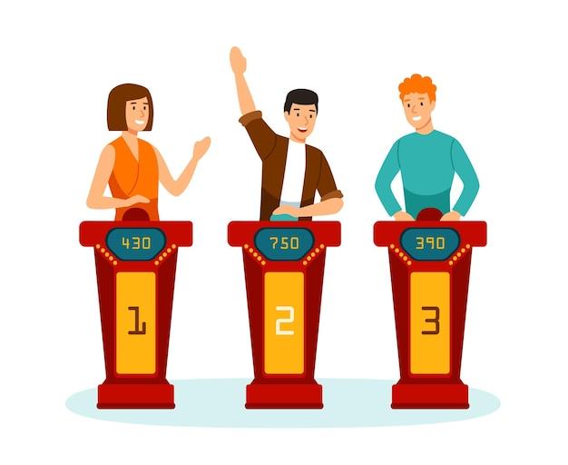 Trois participants au quizshow tv répondant à des questions ou résolvant des puzzles isolés