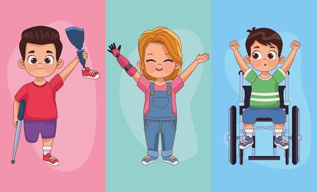 Trois personnages d'enfants handicapés
