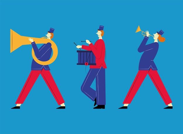 Trois personnages français de fanfare