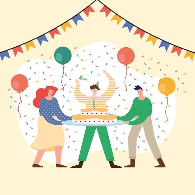 Trois personnes célébrant les personnages de la fête d'anniversaire