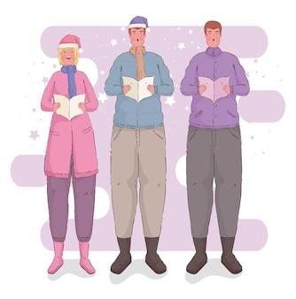 Trois personnes chantant des personnages de chants de noël