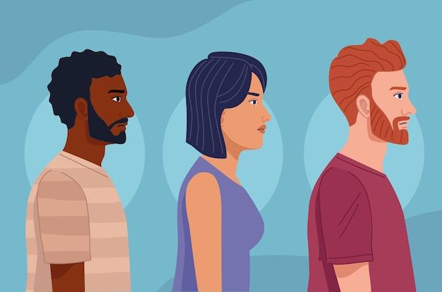 Trois personnes de la diversité