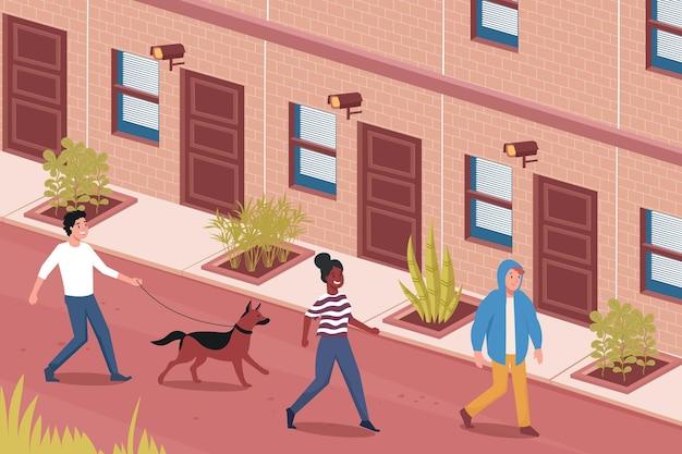 Trois personnes passant par le bâtiment avec les caméras du système de sécurité de la maison à plat